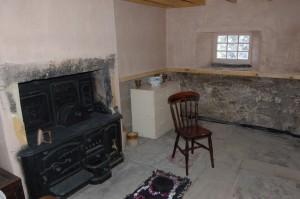 Range and original stone flooring